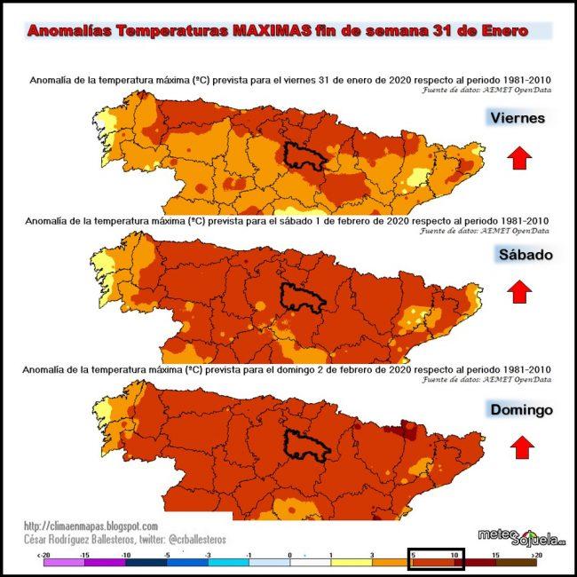 Anomalías Temperaturas Máximas . Meteosojuela